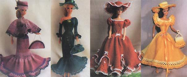 """Вязаные платья для куклы Барби. пряжа  """"Ирис """": 50 г пряжи основного цвета и остатки пряжи разных цветов; спицы 1-1,2..."""