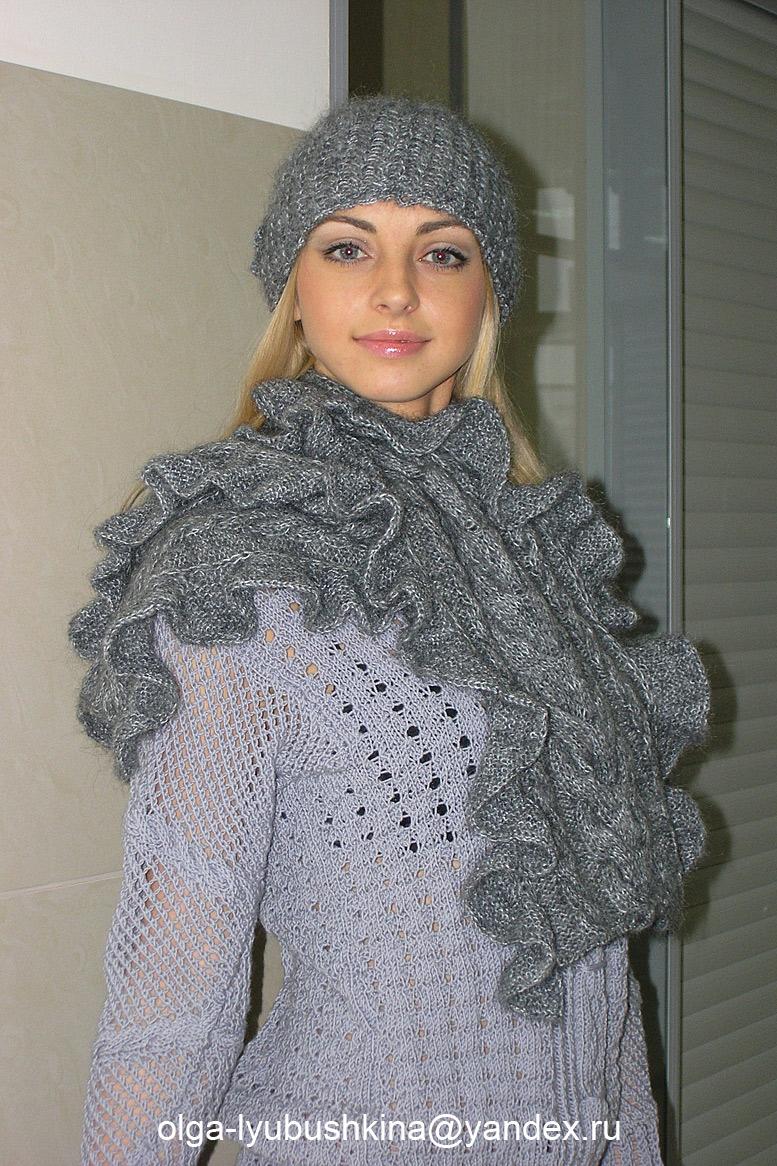 Royal Mohair. Шапка и шарф с воланами из пряжи. Magic), Студия трикотажа