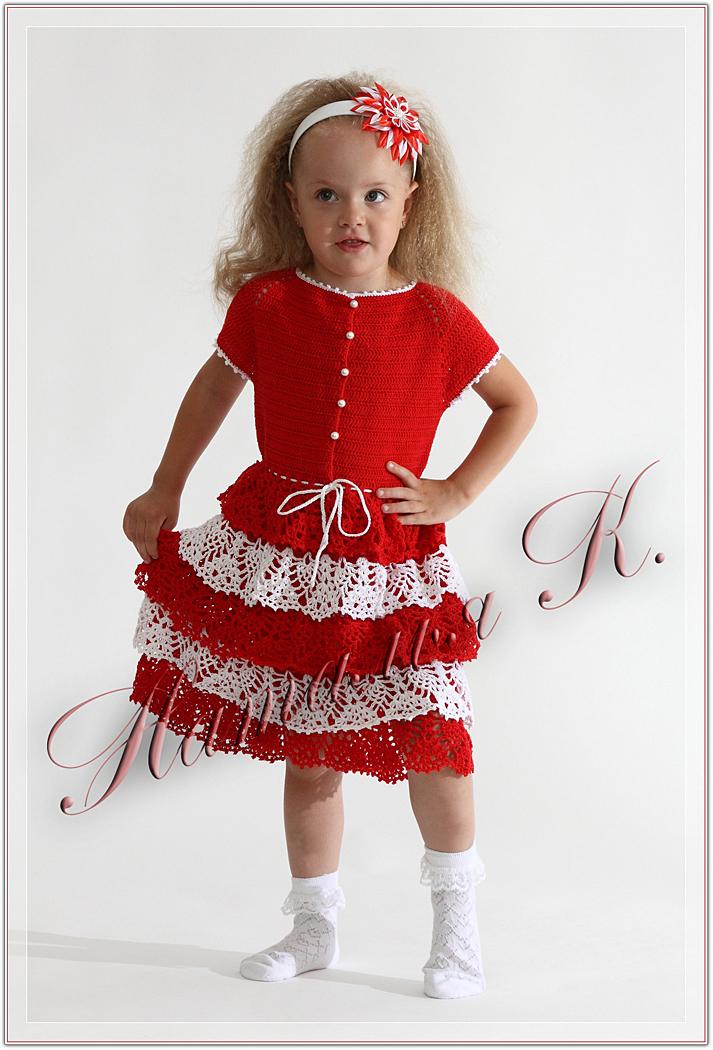 Вязание детское платье модели